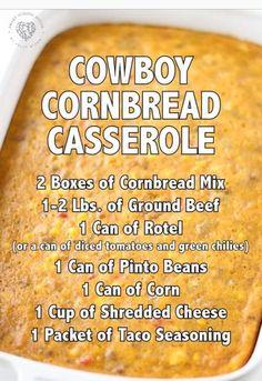Beef Casserole Recipes, Cornbread Casserole, Cornbread Mix, Casserole Dishes, Meat Recipes, Mexican Food Recipes, Cooking Recipes, Hamburger Recipes, Party