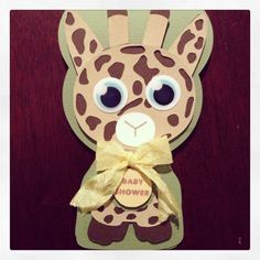 Giraffe baby shower invite card Googley eyes