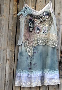 Chateau- - -bohemian shabby chic tunic, embroidered and beaded details,old laces