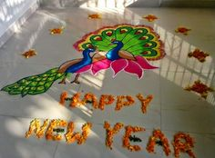 Simple Easy Rangoli Designs 2015 with dots, colours, for competitions in school, office for Diwali