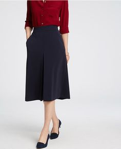 Primary Image of Pleat-Front Midi Skirt
