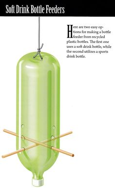 DIY: recycled soda bottle bird feeder From the book 'Build Your Own Backyard Birdhouses and Feeders'
