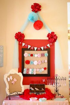 Circus baby shower party decorations! See more party ideas at CatchMyParty.com!
