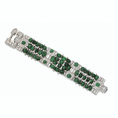 Cabochon emerald and diamond bracelet, Van Cleef & Arpels, circa 1935 | lot | Sotheby's