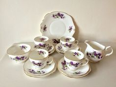 Duchess 4 Piece Bone China Teaset Tivoli Violets Milk Jug Sugar Bowl Cake Plate