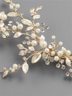 0c70e6a2405 Affordable Elegance Bridal - Gold Floral Vine Pearl and Rhinestone Wedding  Hair Clip