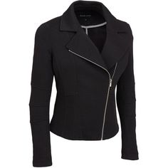 Plus Size Black Rivet Stretch Pique Moto Jacket (€54) ❤ liked on Polyvore featuring plus size women's fashion, plus size clothing, plus size outerwear, plus size jackets, jackets, outerwear, plus size, collar jacket, moto jacket and plus size motorcycle jacket