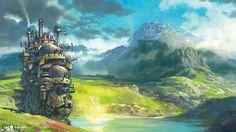 hegyek fantasy art folyó A vándorló palota