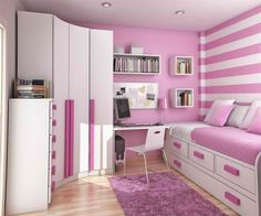 pink-white-striped-bedroom