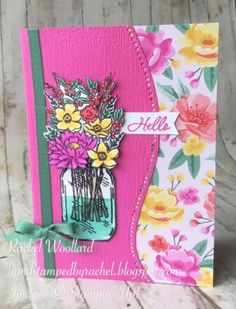 Art With Heart Colour Creations Showcase week 23 - Magenta Madness Mason Jar Cards, Fun Fold Cards, Embossed Cards, Stamping Up Cards, Mothers Day Cards, Flower Cards, Creative Cards, Homemade Cards, Stampin Up