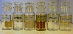 Set of 6 VINTAGE 1960 John Wagner & Sons Glass Spice/Herb Apothacary Jars