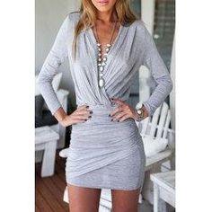 #trendsgal.com - #Trendsgal Plunging Neck Ruffle Long Sleeve Wrapped Dress - AdoreWe.com