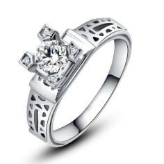 Rose Princess White Gold Plated 925 Silver Eiffel Tower 1 X Created White Topaz Sterling Silver Ring