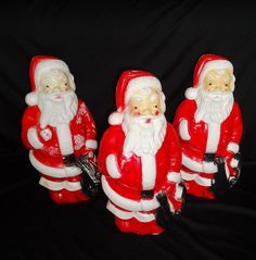 THREE Empire Vintage XMAS Blowmold Christmas Santa Claus Lights Blow Mold 13"