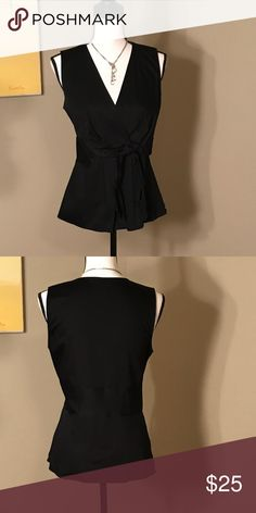 3734b3caa16b5 Ann Taylor Black Blouse This top is grate for the office or casual Zipper  on the side Tie in the front V-neck Ann Taylor Tops Blouses