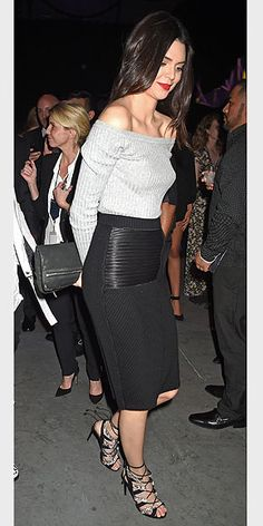 Kendall does a sexy black pencil skirt and off-the-shoulder sweater like nobody's business.