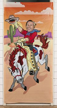 Cowboy Photo Door Banner : Hang this bronco-busting plastic banner on your doorway for the perfect photo op at a Bush birthday or Wild West party! Rodeo Birthday Parties, Cowboy Birthday, Birthday Party Decorations, Party Themes, Party Ideas, Cowboy Party, Horse Party, Wild West Party, Cowboy Baby Shower