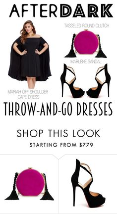 """Off The Shoulder Cape Dress"" by latoyacl ❤ liked on Polyvore featuring Alessandra Rich and Christian Louboutin"