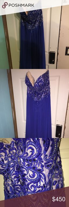"""Jiovani Dress Navy blue floor length dress, white 3"""" heels included. Paid over 700 for dress and shoes. Has split on left leg. I am 5'7 and it was long on me, never altered, size 16. Have more pics of needed. Negotiations welcome, just no low balling please😊 jiovani Dresses Prom"""