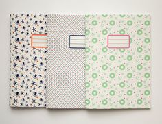 Pack of 3 custom notebooks - School supplies - Back to school -  10 patterns available via Etsy