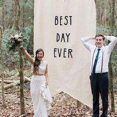 'Best day ever' ceremony backdrop. Image: Instagram/thepwplanner/madelineharperphoto #wedding #ceremony #decorations