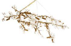 Branches Chandelier, Brass/White