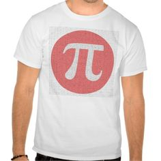Pi digits and red circle design for math geeks tee shirts.