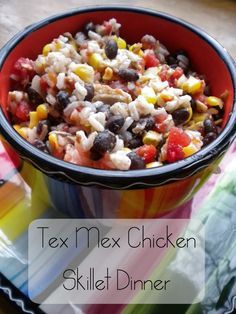 Tex Mex Chicken Skillet ~ New Recipe in our 31 Days of Skillet Dinners Series! | 5DollarDinners.com