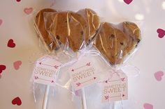 Quick + Easy Valentine Cookie Pops {For Chic Sake} serve with strawberry milk!