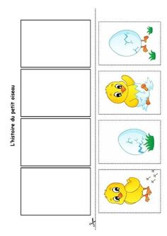 L'histoire du petit oiseau, images à replacer en ordre. Sequencing Cards, Sequencing Activities, Easter Activities, Toddler Activities, Kindergarten Portfolio, Kindergarten Activities, Classroom Activities, Preschool Activities, Picture Story Writing
