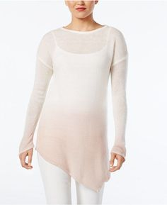 Vince Camuto Dip-Dyed Asymmertical-Hem Sweater