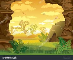 Prehistoric Illustration With Green Grass, Cave And Walls Of Rock On A Yellow Cloudy Sky. Nature Vector Landscape. - 340961627 : Shutterstock
