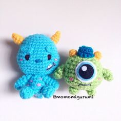 Finished Product, Mike and sully amigurumi by momomigurumi on Etsy https://www.etsy.com/listing/209432434/finished-product-mike-and-sully