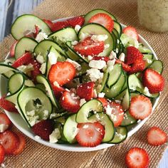CUCUMBER & STRAWBERRY POPPYSEED SALAD - Credit: @housewifeintraining - INGREDIENTS 2 large cucumbers, spiralized using Blade A 4 cups strawberries, sliced ½ cup feta, crumbled ½ cup Poppyseed Dressing - INSTRUCTIONS - In a large bowl, toss cucumbers and strawberries together. Divide among four plates, sprinkle with feta and pour 2 tablespoons dressing over each salad and serve immediately!