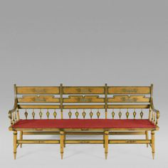 Chrome Yellow Paint Decorated Settee c 1820 30