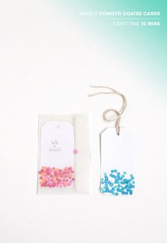 confetti coated cards. easy!
