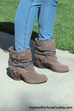 Lace and Chain Booties Outfit