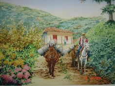 JUAN RUIZ. PINTOR ARTISTICO. Art Pictures, Decoupage, Painting, Bullock Cart, Beautiful Paintings, Beautiful Landscapes, Watercolor Techniques, Artworks, Canvases