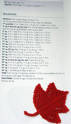 tuto  tricot feuille d'érable ... http://tricotdamandine.over-blog.com/2015/04/un-tuto-de-petite-feuille.html