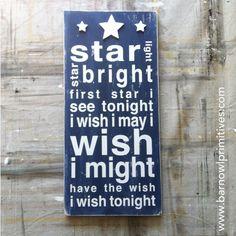 Star Light Star Bright Typography Word Art by barnowlprimitives, $100.00
