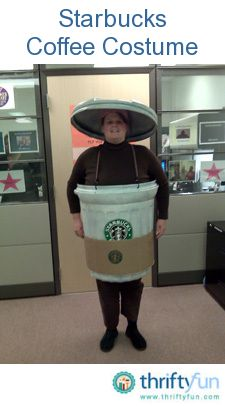 This idea came to me because I admit, I love coffee. So much in fact, that I turned into one. I bought a very lightweight garbage can from the hardware store. It came with a lid. Starbucks Halloween Costume, Easy Adult Halloween Costumes, Scary Costumes, Diy Costumes, Adult Costumes, Halloween Crafts, Halloween Party, Costume Ideas, Halloween Stuff