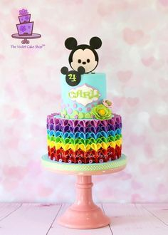 TSUM TSUM MICKEY with RAINBOW V-Petal Ruffles by Violet - The Violet Cake Shop