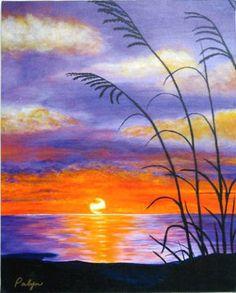Acrylic Sunset Paintings Landscape acrylic painting by Landscape Paintings, Watercolor Paintings, Sunset Paintings, Acrylic Paintings, Art Paintings, Watercolors, Art Therapy Projects, Art Projects, Pallet Projects