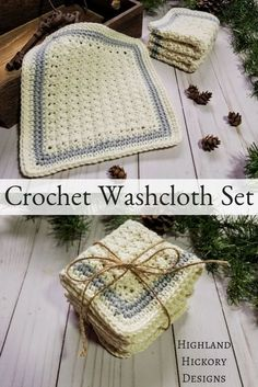 Sampler Spa Cloths - Highland Hickory Designs - Free Crochet Pattern Crochet the Sampler Spa Cloths with a free and easy pattern. Three different cloths use the Trinity, Suzette and Silt stitch to make a set. Great for gifts! Crochet Towel, Crochet Potholders, Knitted Dishcloths, Washcloth Crochet, Crochet Mat, Crochet Angels, Crochet Mandala, Crochet Afghans, Crochet Blankets