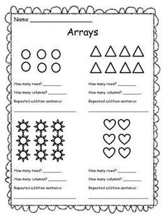 Free resource: Arrays Worksheet! Students look at an array and write a repeated addition sentence. I used this for second grade math!