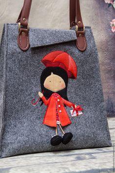 Купить Войлочная сумка Девочка в красном - серый, рисунок, зимняя, зима 2015, зима 2016