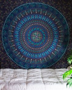 Blue Pharaoh Mandala Tapestry at $24.99 | www.thebohemianshop.com #Hippie #Bohemian