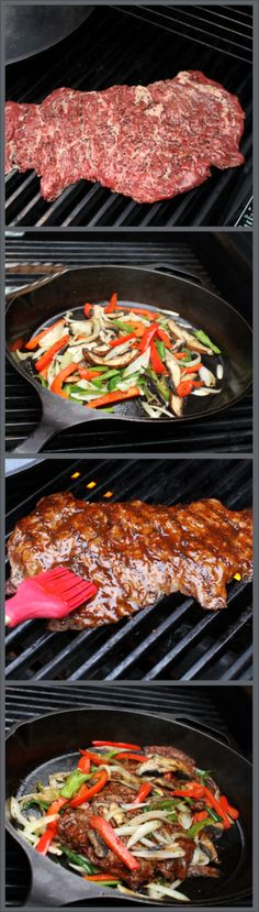 Fajitas! On the stovetop or on the grill. Fast & easy recipe for fajita fixins. Beef, peppers, onions & portabello mushrooms
