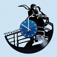 Titanic Handmade Vinyl Record Wall Clock - VINYL CLOCKS Vinyl Record Clock, Record Wall, Vinyl Records, Record Crafts, Music Crafts, Fancy Watches, Cd Art, How To Make Wall Clock, Clock Art