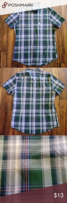 Ben Sherman Plaid Button Down Men's Shirt Ben Sherman Plaid Button Down Men's Shirt, short sleeve, 100% cotton, no tears no stains, gently used Ben Sherman Shirts Casual Button Down Shirts